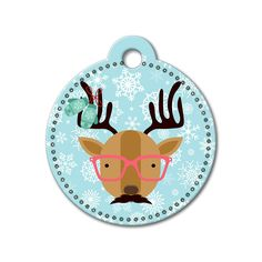 Reindeer with Glasses Holiday Dog Tag #holidays #dogtagsfordogs #pettags #dogaccessories #dogfashion #dogs #pets #etsy #etsyfinds #reindeer #christmas #dogtags