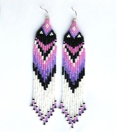 Native American Beaded Earrings Inspired. Pink Purple Black White Earrings. Dangle Long Earrings. Beadwork.