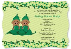 Two Peas in a Pod Baby Shower Invitation #Twins