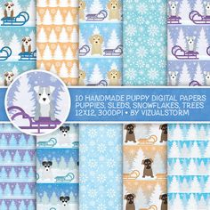 Winter Puppy Digital Paper, Winter Pet Scrapbooking Cute Puppy Holiday Backgrounds For Kids Sleds, Snowflakes, Christmas Puppies, Pine Trees by VizualStorm on Etsy https://www.etsy.com/uk/listing/476307620/winter-puppy-digital-paper-winter-pet