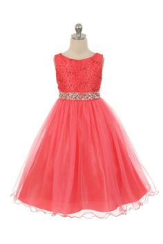 4bd4a1e0e4996 MB 340CO - Girls Dress Style 340 - Sparkly Tulle Dress with Beaded Waist in  Choice of