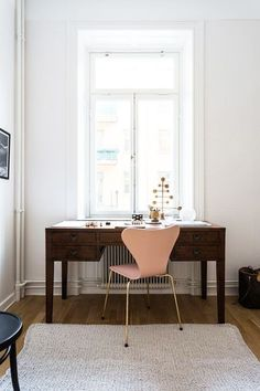pink chair and wood desk styled by fantastic frank / sfgirlbybay Workspace Inspiration, Interior Design, House Interior, Home, Scandinavian Home, Office Design, Interior, Dining Chairs Diy, Furniture