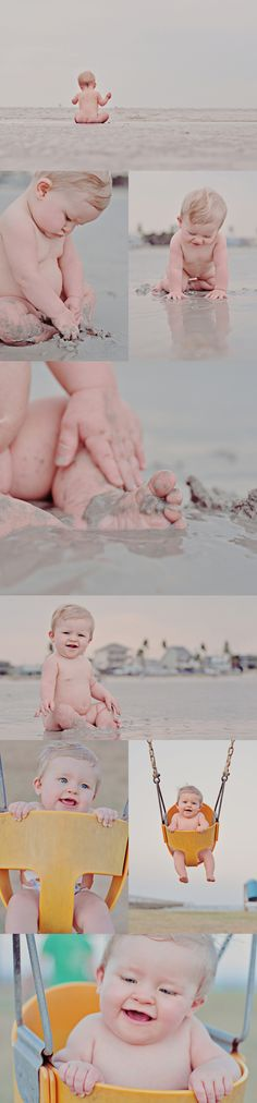 There's something about a little cubby nudie baby at the beach! Not sure I would be a fan of getting sand in her lady parts but it is cute :)