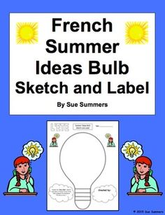 french summer beach bag sketch and label vocabulary activity french learning pinterest. Black Bedroom Furniture Sets. Home Design Ideas
