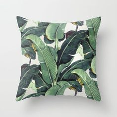 Tropical Banana Leaf Print Throw Pillow by Chloe Vaux - $20.00