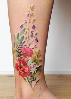 35 Amazingly Pretty Flower Tattoos That Are Perfect For The Spring & Summer 35 Best Flower Tattoos For Women That Will Inspire You To Get Inked Over The Summer Colorful Flower Tattoo, Pretty Flower Tattoos, Beautiful Tattoos, Colorful Flowers, Realistic Flower Tattoo, Pretty Tattoos For Women, Vintage Flower Tattoo, Colorful Tattoos, Incredible Tattoos
