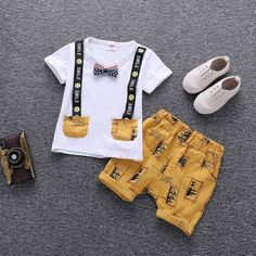 Cartoon Printed Summer Cotton Cute Baby Boy Outfits - Gucci Baby Clothes - Ideas of Gucci Baby Clothes - Cartoon Printed Summer Cotton Cute Baby Boy Outfits Baby Set, Baby Kostüm, Baby Boys, Kids Boys, Cute Baby Boy Outfits, Boys Summer Outfits, Summer Boy, Kids Outfits, Summer Time