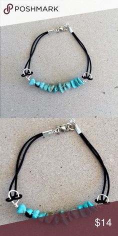 """Turquoise Stone & Black Leather Bracelet Beautiful turquoise stone (4-6mm each) and black leather bracelet with silver clasp.  I have one 6.5"""" and one 7"""" available.  NWOT Brand new, never worn. I also have matching turquoise earrings available in surgical steel or copper. Bundle and get 10% off! Jewelry Bracelets"""