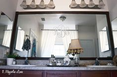 Easy DIY Tutorial: Adding Trim Around A Giant Mirror (For Renters!)