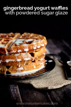 Gingerbread Yogurt Waffles with Powdered Sugar Glaze