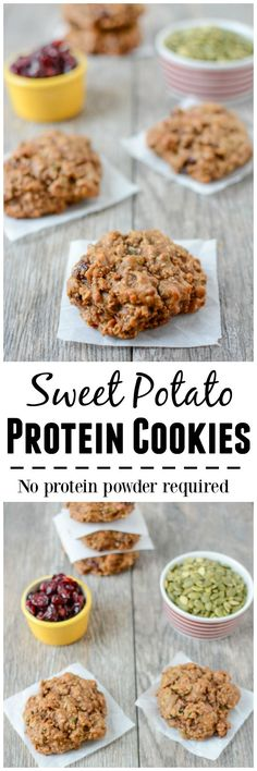 No protein powder required for these Sweet Potato Protein Cookies! They're gluten-free, made with real food ingredients and packed with protein and fiber. Enjoy them for breakfast or an afternoon snack!