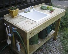 potting bench with sink | New Potting Bench, Fried Okra Recipe