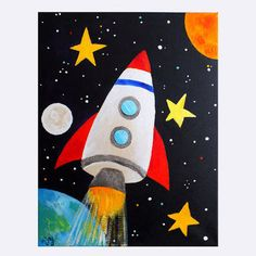 Space Art for Kids, ROCKET BLAST OFF No.2, 11x14 Canvas Painting for Boys Room or Nursery