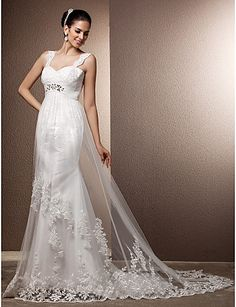 Sheath/Column Straps Court Train Tulle Wedding Dress - USD $ 249.99