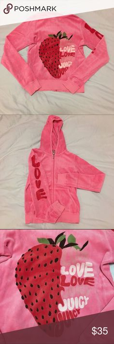 """NWOT Juicy Couture Strawberry velour hoodie NWOT, super soft&comfortable Juicy velour hoodie. Cute strawberry design on back with """"LOVE"""" printed down the arm. 100% AUTHENTIC!!! Size medium. Juicy Couture Tops Sweatshirts & Hoodies"""