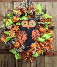 Autumn Mesh Owl Wreath on Etsy, $95.00