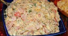 Salata cu pui și maioneza de casa este foarte gustoasa si sanatoasa. este simplu de preparat si ai nevoie de doar cateva ingrediente: Ingrediente:300 grame piept de pui fiert, 4 castraveti marinati, 3 oua, verdeata, 250 grame sunca, 3 rosii, 50 grame cascaval, maioneza Cum se prepara : Carnea Kefir, Hawaiian Pizza, Turkey Recipes, Pasta Salad, Carne, Potato Salad, Salads, Food And Drink, Appetizers