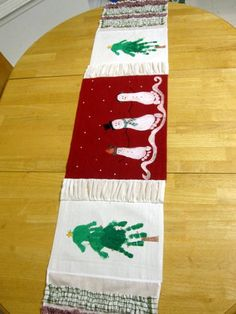 Painted Place Mat Table Runner using children's hand & foot prints