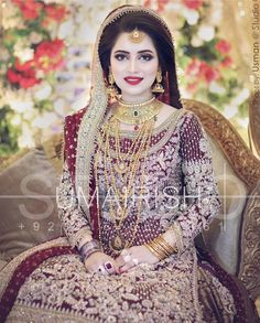 New Dress Party Muslim Walima Ideas Pakistani Bridal Makeup, Bridal Mehndi Dresses, Pakistani Wedding Outfits, Bridal Dress Design, Bridal Outfits, Indian Bridal, Bridal Style, Walima Dress, Bridal Hijab