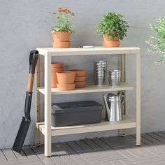 KOLBJÖRN Shelf unit, indoor/outdoor, beige, 31 Suitable for both indoor and outdoor use. The shelving unit is durable, easy to clean and protected from rust since it is made of powder-coated galvanized steel. Outdoor Storage Boxes, Outdoor Shelves, Bench With Storage, Storage Benches, Pantry Storage, Storage Shelves, Pantry Shelving, Storage Cabinets, Bathroom Storage