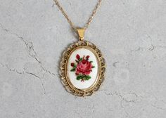 Vintage Necklace : Floral Cross Stitch by RaleighVintage Mini Cross Stitch, Cross Stitch Rose, Cross Stitch Flowers, Cross Stitching, Cross Stitch Embroidery, Cross Stitch Patterns, Minis, Crochet Cross, Beaded Jewelry