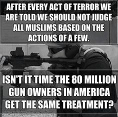 After every act of terror we are told we should not judge all muslims based on the actions of a few. Isn't it time the 80 million gun owners in America get the same treatment?