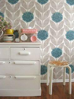 Orla Kiely wallpaper for powder room or closet