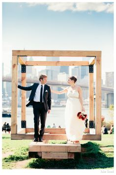 Wedding Portraits in DUMBO, Brooklyn Bridge Park.