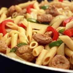 Art Bow Tie Pasta with Sausage and Sweet Peppers food-and-drink