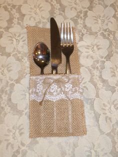 Burlap and Lace Utensil Holder Rustic Wedding Table Decor