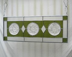 Stained Glass Panel Depression Glass Window by HeritageDishes, $89.95...I love this idea and bought some depression glass plates to design my own!