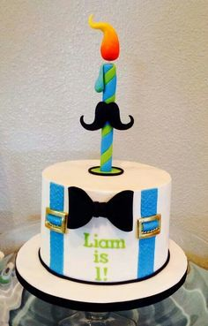 What a cute cake by Carla D inspired by my Bowtie & Mustache Cake tutorial! :) I love receiving pictures of cakes inspired by my work! Cute Cakes, Yummy Cakes, Moustache Cake, Types Of Cakes, Pastry And Bakery, Amazing Cakes, Beautiful Cakes, Cakes For Men, First Birthday Cakes