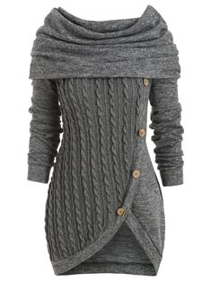 Cowl Neck Cable Knit Tunic Knitwear - OFF] Cowl Neck Overlay Asymmetrical Marled Knitwear Pink Cardigan Sweater, Cowl Neck Sweater Dress, Pullover Mode, Vogue Knitting, Mode Style, Sweater Fashion, Cardigans For Women, Long Sweaters For Women, Sonia Rykiel