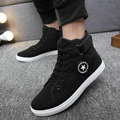 YWEEN Men's Vulcanize Shoes Men Spring Autumn Top Fashion Sneakers Lace-up High Style Solid Colors Man Shoes - Men's style, accessories, mens fashion trends 2020 High Top Sneakers, Sneakers Shoes, Moda Sneakers, Sneakers Mode, Black Sneakers, Casual Sneakers, Casual Shoes, Men's Shoes, Shoes Men