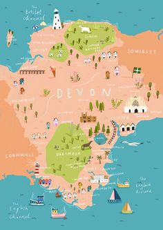 Travel and map illustration Travel Maps, Travel Posters, Cornwall Map, Cornwall England, A Little Market, Uk History, Map Globe, Uk Holidays, Map Design