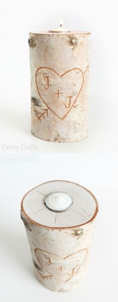 Learn how to make a birch pillar DIY candle holder. Would make a pretty wedding decoration or even a wedding or anniversary gift.