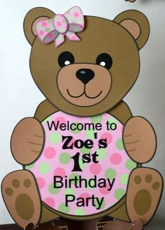 Crafty kids at home free printable teddy bear birthday party teddy bear birthday party or baby shower decorations girl pink door sign personalized custom from bc paper designs filmwisefo