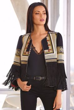 Embroidered Fringe Jacket I from Boston Proper Kimono Fashion, 80s Fashion, Hijab Fashion, Boho Fashion, Fashion Dresses, Fashion Looks, Womens Fashion, Fashion Tips, Fashion Design