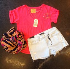 Nation tee, J Brand jean shorts, Theodora and Callum scarf & Sheila Fajl hoops • call 919-881-9480 to order!