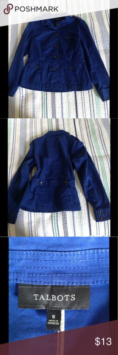 Classy Talbots blue jacket, size 8, EUC This classy Talbots jacket is in excellent used condition, size 8, 98% cotton, 2% spandex. Great for layering. Detailing in the back is waist flattering. Bundle 2+ items to save 20%! Talbots Jackets & Coats