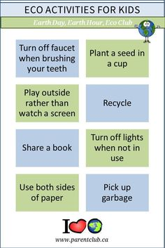 These Eco Activities For Kids encourage kids to be thoughtful about water, energy, and their environment. All of these 8 eco activities are FREE and can be done all year round at home or in a classroom. Perfect Earth Day activities, Earth Hour activities, eco club activities, and everyday family activities.