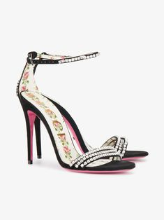 d283664e3e8 Gucci | Black Crystal 115 Suede Sandals - These black and pink crystal  embellished sandals are