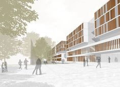 "Image 6 of 6 from gallery of New Buildings of the ""Klinikum Plan for Karlsruhe Medical Centre / gmp Architekten. entrance perspective house M / Courtesy of gmp Architekten City Architecture, Media Images, Capital City, Facade, Entrance, Centre, Medical, How To Plan, Perspective"
