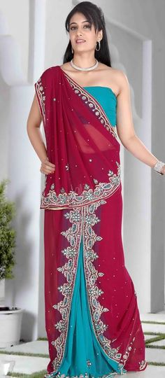 $110.61 Red and Blue Stone Work Faux Georgette Lehenga Saree 22913