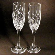Sea Grass Champagne Glasses, Etched Glass. $45.00, via Etsy.