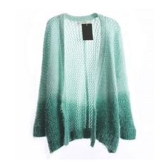 Loose Knit Fluffy Cardigan With Ombre Effect ($28) ❤ liked on Polyvore featuring tops, cardigans, jackets, outerwear, sweaters, ombre top, knit tops, loose tops, loose fit tops and cut loose tops