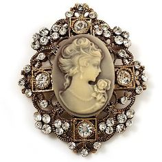 Heiress Filigree 'Cameo' Brooch (Antique Gold Finish) Avalaya. $23.40. Type: crystal, filigree. Style: cameo. Gemstone: swarovski crystal. Occasion: anniversary, mothers day, cocktail party. Metal Finish: antique gold. Save 24% Off!