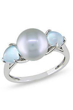 Michiko Gemstone & Freshwater Pearl Ring In 10k WG