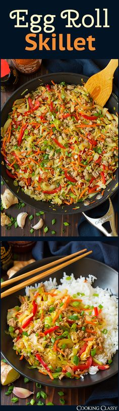 Egg Roll Skillet - A quick and easy cabbage and ground turkey based stir fry that's perfectly hearty and deliciously flavorful! A healthier alternative to egg rolls without the fried wonton wrappers yet it's still just as tasty! Asian Recipes, New Recipes, Dinner Recipes, Cooking Recipes, Favorite Recipes, Healthy Recipes, Oriental Recipes, Entree Recipes, Quick Recipes