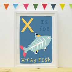 X Is For X-Ray Fish poster/print by PaperPenknife on Etsy